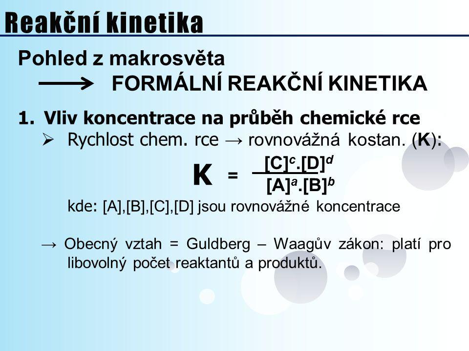 K [A]a.[B]b Reakční kinetika Pohled z makrosvěta